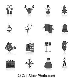 Christmas icons set black