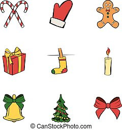 Christmas icons set, cartoon style
