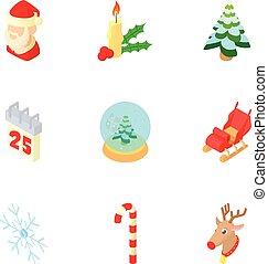 Christmas icons set, cartoon style