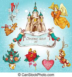 Christmas icons set colored