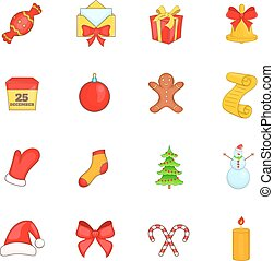 Christmas icons set in cartoon style