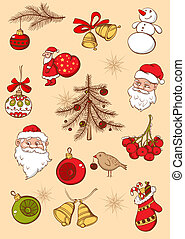 Christmas icons - Set of vector Christmas hand drawn icons