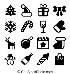 Christmas Icons Set on White Background. Vector