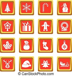 Christmas icons set red