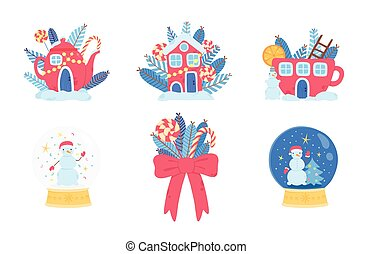 Christmas icons set. Red tea pot with candies, holiday red xmas house, glass snowglobe with snowman, red bow and sweer christmas candy.