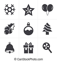 Christmas Icons Set, Vector Design
