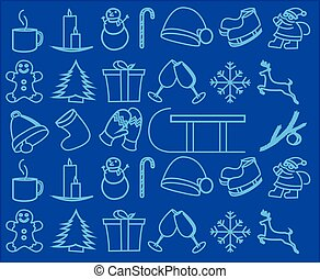 Christmas icons vector illustration isolated