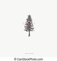 Christmas illustration greeting card template with pine...