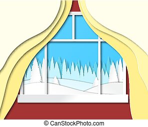 Christmas illustration, look from the window. Vector.