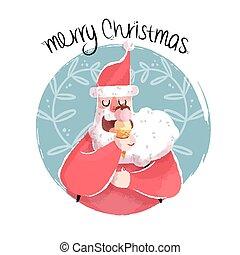 Christmas illustration of fun santa with ice cream