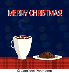 Christmas illustration of mug with hot cocoa and cookies on the plate