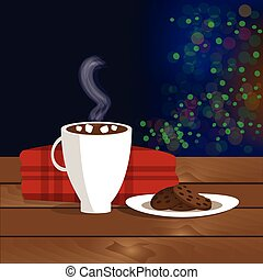 Christmas illustration of mug with hot cocoa, cookies on the plate and plaid