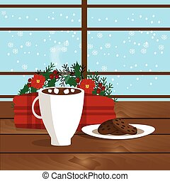 Christmas illustration of mug with hot cocoa, cookies on the plate and plaid near window