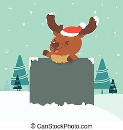 Christmas illustration of reindeer holding board