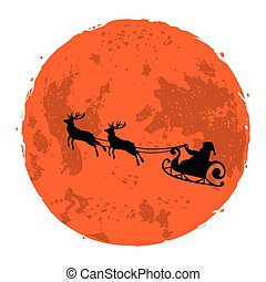 Christmas Illustration of Santa and His Reindeer on Full Moon Background