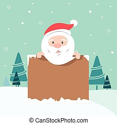 Christmas illustration of Santa holding board