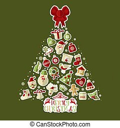 Christmas illustration of tree with stickers.