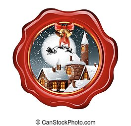 Christmas illustration of wax seal with snowy town
