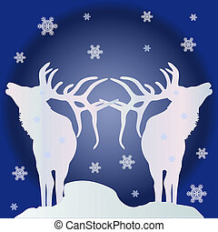 Christmas illustration, two white silhouettes of deer (northern) in snowy weather at night, where snowflakes are spinning