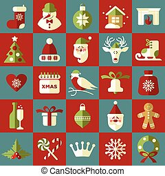 Christmas illustration. Vector set of icons.