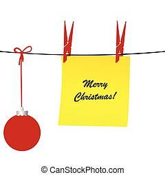Christmas illustration with a sheet of paper and a Christmas ball hanging on a rope