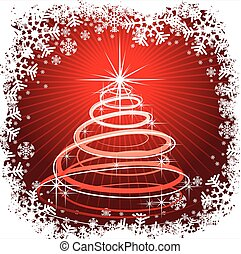Christmas illustration with abstract tree on red background