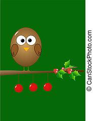 Christmas illustration with bird