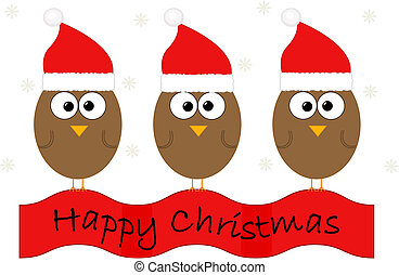 Christmas illustration with birds