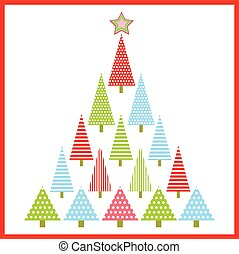Christmas illustration with colorful Xmas tree suitable for kid Xmas greeting card, wallpaper, and postcard