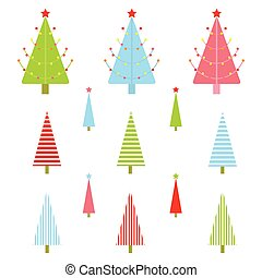 Christmas illustration with colorful Xmas tree suitable for kid Xmas sticker set and clip art