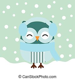 Christmas illustration with cute baby owl on snow fall background