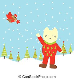 Christmas illustration with cute bird and Cat on the snow fall background suitable for Xmas kid greeting card, postcard, and wallpaper