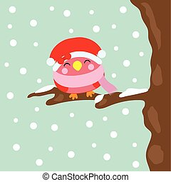 Christmas illustration with cute bird smiles on snowfall background suitable for Xmas kid greeting season, wallpaper, and postcard