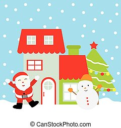 Christmas illustration with cute Santa Claus, snowman, Xmas tree, and red house suitable for Xmas greeting card, wallpaper, and postcard