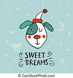 Christmas illustration with funny dog. Hand drawn vector poppy with lettering Sweet Dreams. Happy New Year collection. Winter design.