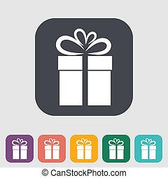 Christmas illustration with gift box.