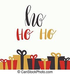 Christmas illustration with hohoho lettering and christmas ...