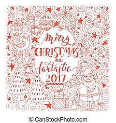 Christmas illustration with lettering