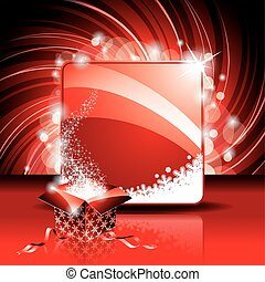 Christmas illustration with magic gift box on red background