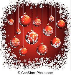 Christmas illustration with red balls and snowflakes