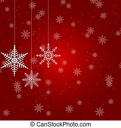 Christmas illustration with several hanging snowflakes on red background
