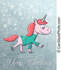 Christmas illustration with unicorn, merry christmas