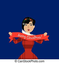 Christmas illustration with woman in a red dress. EPS 10.