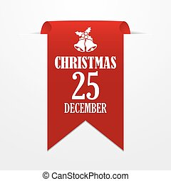 Christmas in 25 december. Red ribbon on a gray background