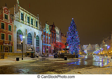 The Long Market with Christmas tree in Gdansk, Poland.