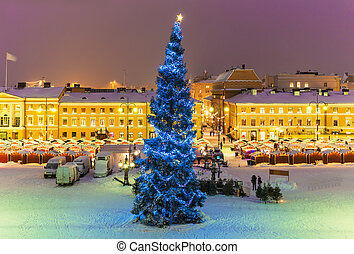 Christmas in Helsinki, Finland - Winter night scenery of...