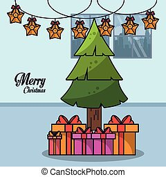 Christmas in home cartoon icon vector illustration graphic...