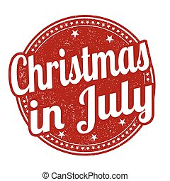 Christmas in july grunge rubber stamp on white background, vector illustration