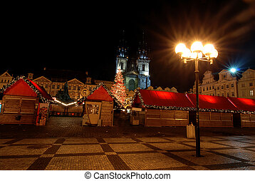 Christmas in Prague - Old Town Square in Prague during...