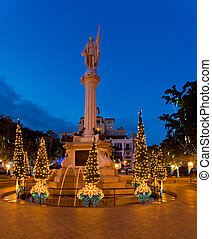 Christmas in San Juan - Plaza Colon in old San Juan with ...